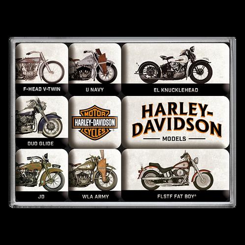 Harley-Davidson - Model Chart Magnet-Set (9teilig) 7 x 9,3 x 2 cm