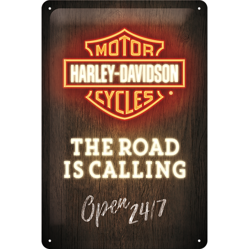 Harley-Davidson - Road is Calling Neon Blechschild 20 x 30 cm