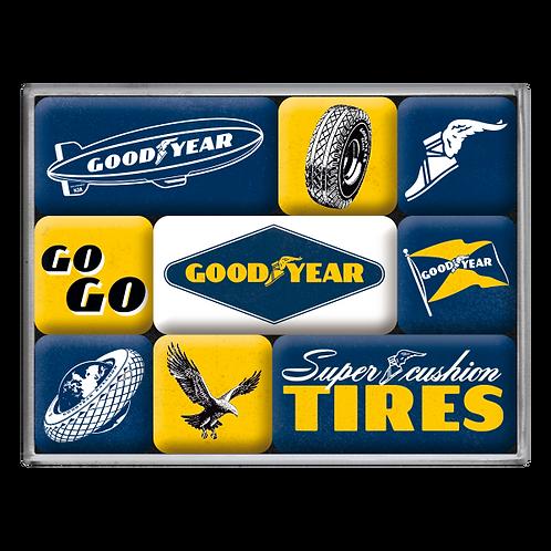 Goodyear - Logos Magnet-Set (9teilig) 7 x 9,3 x 2 cm