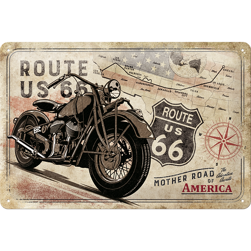 Route 66 Bike Map Blechschild 20 x 30 cm