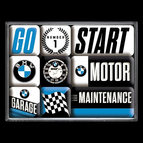 BMW - Motor Magnet-Set (9teilig) 7 x 9,3 x 2 cm