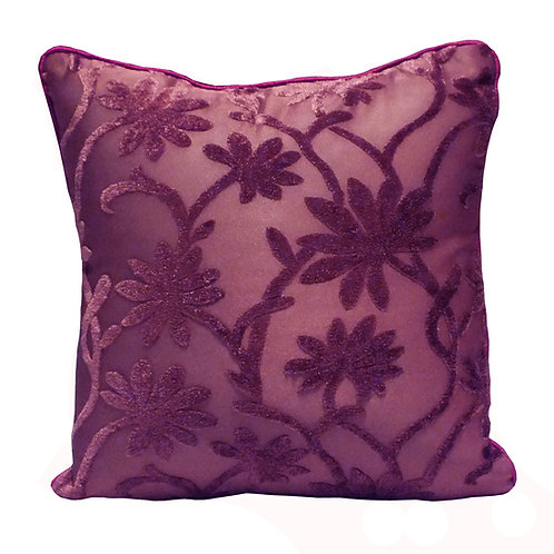 Plum floral velvet imprints on polyester cushion cover