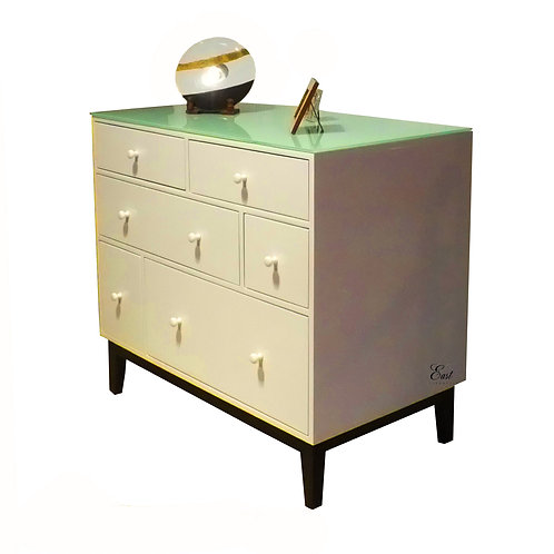 Pearl drawer cabinet with Glass Top 1498