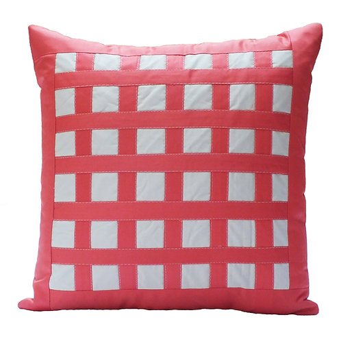 Peach and White checkered polycotton cushion cover