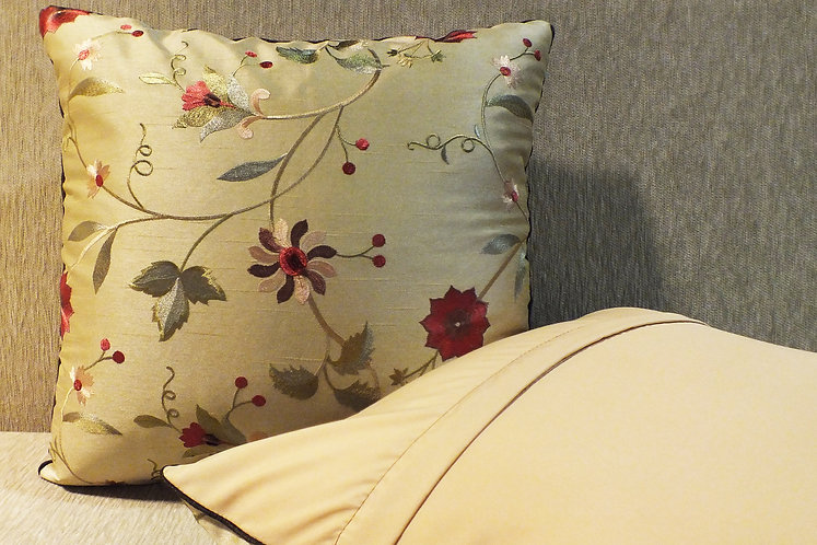 Floral silk embroidered cushion cover