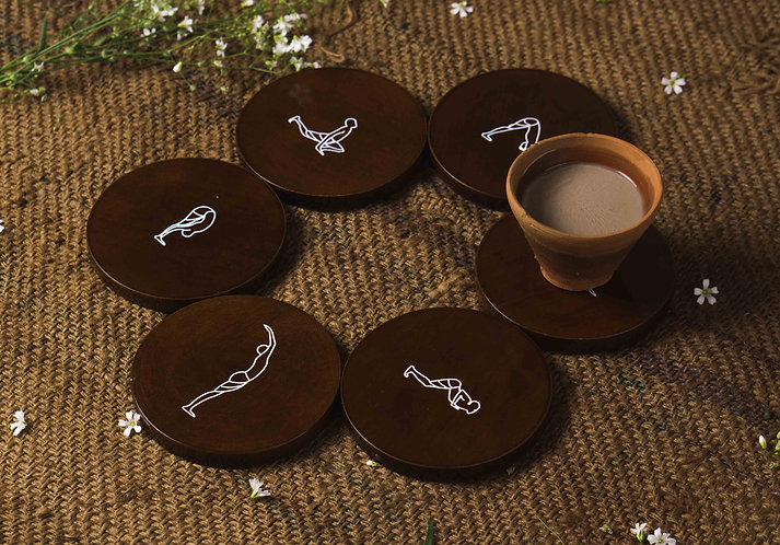 Wooden Printed Yoga Inspired Coaster - Brown