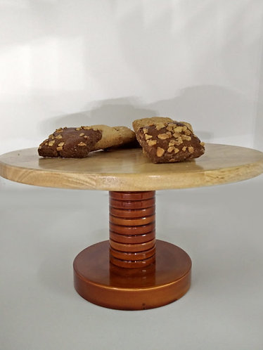 Wooden Handcrafted Cake Stand – Brown  1021