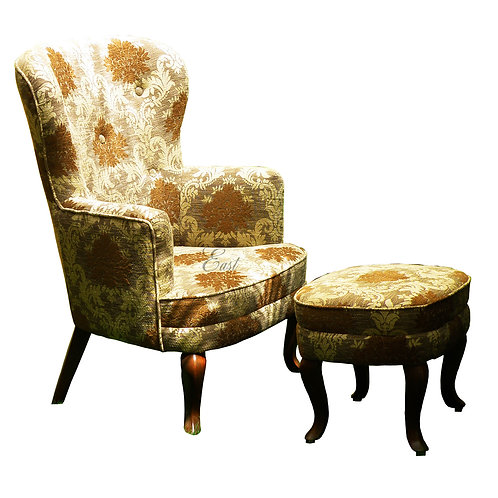 Classic Club Chair and Pouf 238
