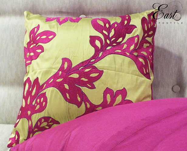 Hot pink applique on silk cushion cover