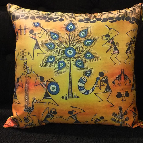 Tribal Dance - Tafetta Silk cushion cover - 12*12