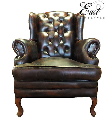 Tollygunge Leather Wing Chair C 498