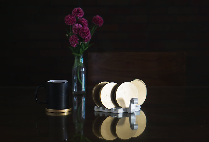 Wooden Coaster Set Swan Inspired–White & Golden