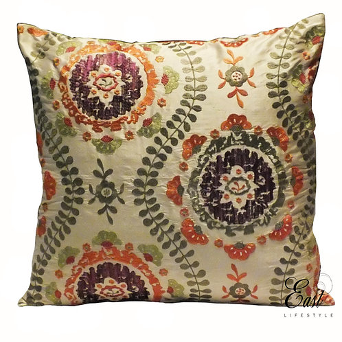 Brown floral threadwork on Silk Cushion cover