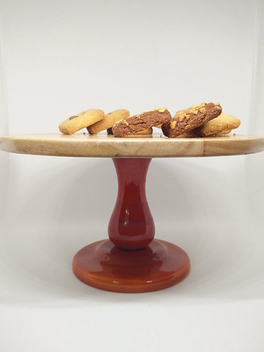 Wooden Handcrafted Cake Stand – Red 1022