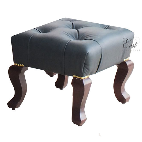 English Wing Leather Ottoman 399