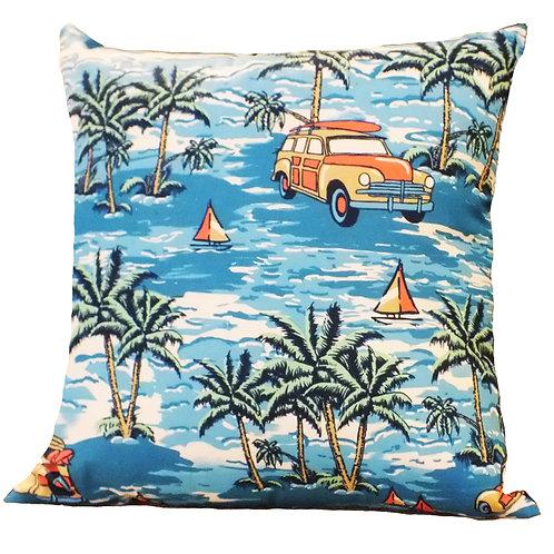 Blue Beach Cotton Cushion cover - 12*12 inch