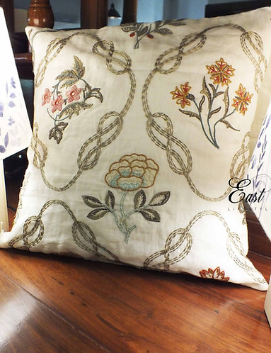 Colored Leaves Embroidered Cushion Cover