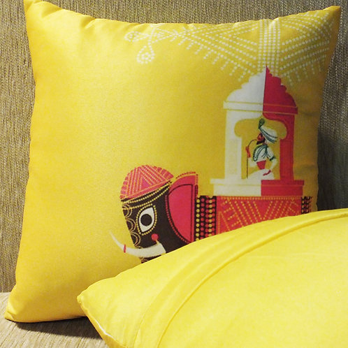 Elephant Ride- Tafetta silk cushion cover - 12*12