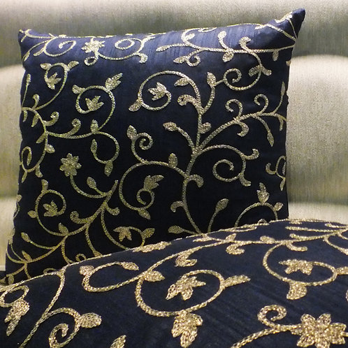 Blue Raw Silk with gold work cushion cover