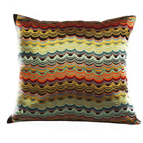 Embroidered waves in silk cushion cover
