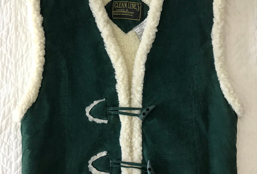 Green Suede Shearling Lined Vest