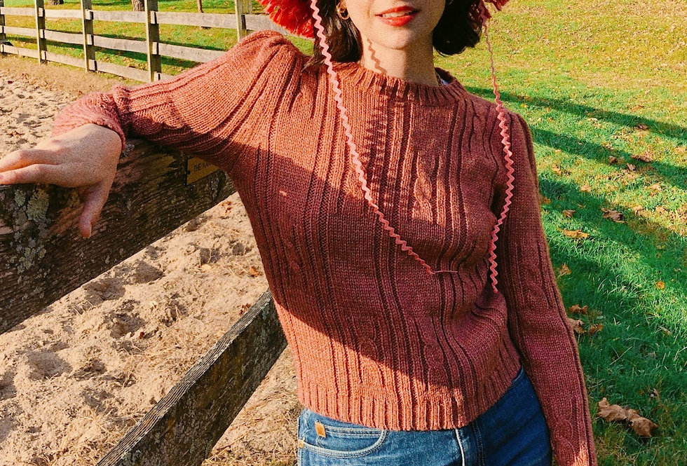Blush Heather Partial Cable Puff Shoulder Sweater