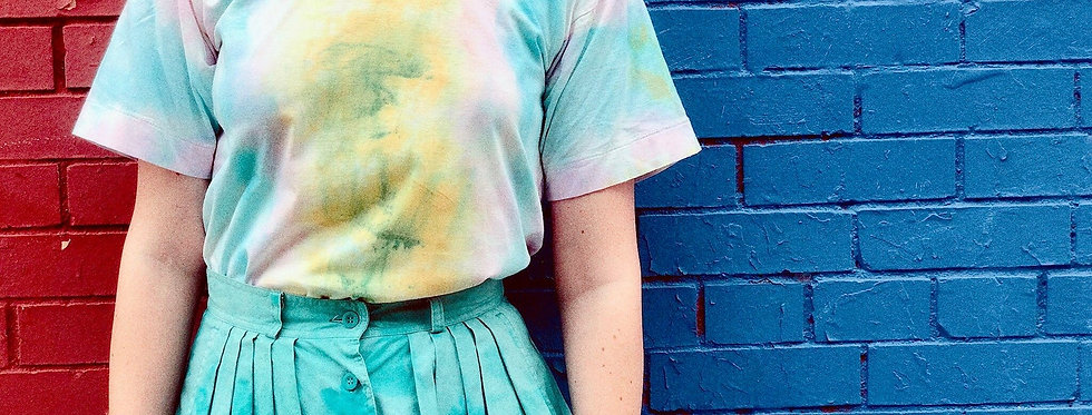 SZ S/M Tie Dyed Upcycled Vintage Cotton Chinese T-Shirt
