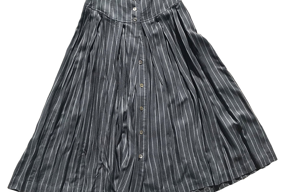 80s Drapey Rayon Button-Front Midi Skirt w/ Pleats and Pinstripes