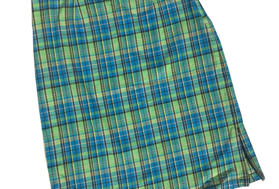 90s Cotton Stretch Green and Blue Plaid Pencil Skirt w/ Zipper Detail