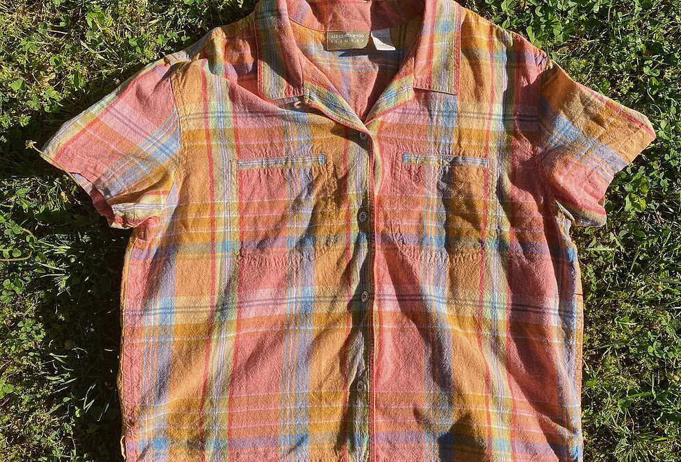 SZ M/L Cropped Cotton 90s Summer Plaid Shirt