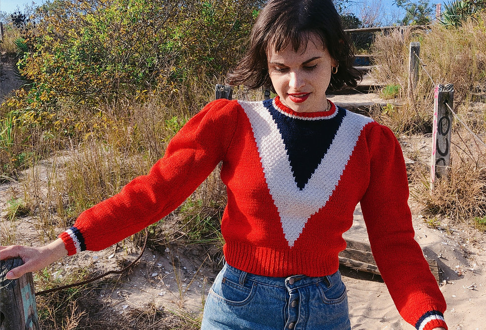 60s Handknit Red, White + Blue Chevron Pullover with Puff Shoulders