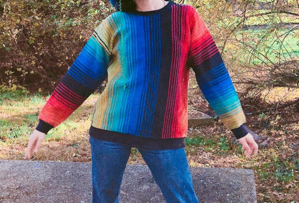 Vertical Rainbow Striped Heavy Cotton Sweater