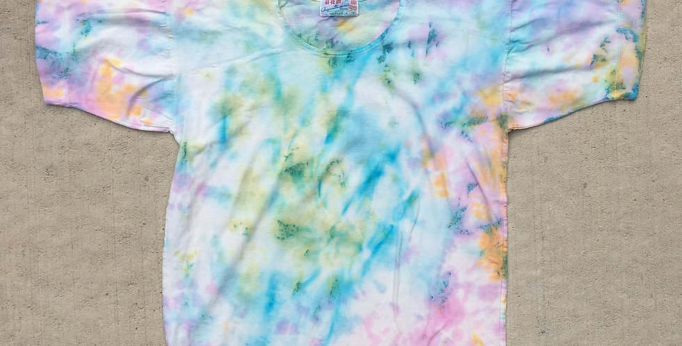 Tie Dyed Upcycled Vintage Cotton Chinese T-Shirt