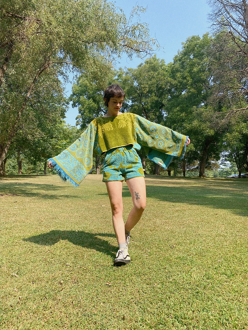 Upcycled Towel Top and Shorts