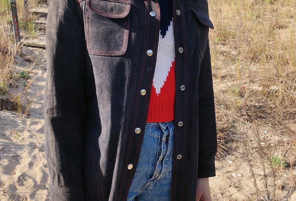 Dark Blue Suede Reversible Shacket with Red Contrast Stitching