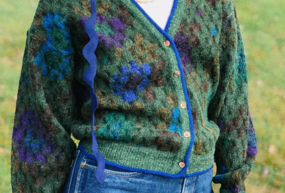 Kenzo Printed Floral Cardi with Blue Trim