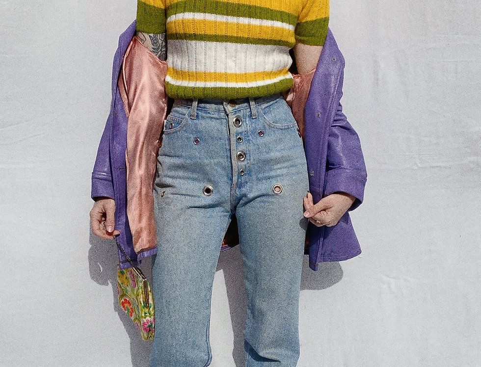 Short Sleeve Striped 70s Sweater