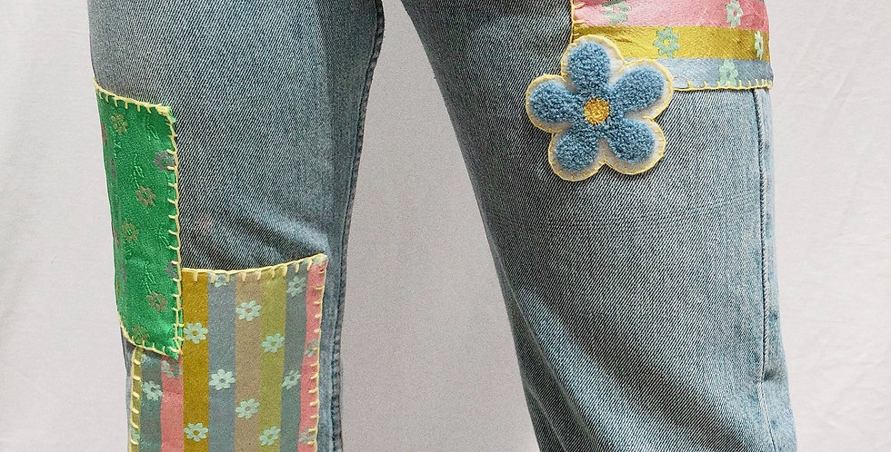 Patched and Hand Embroidered Vintage Light Wash Levis 501
