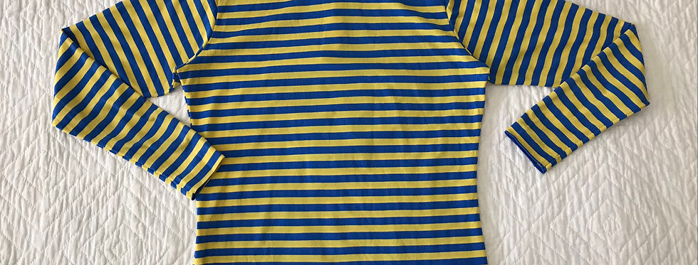 Blue and Yellow Striped Turtleneck