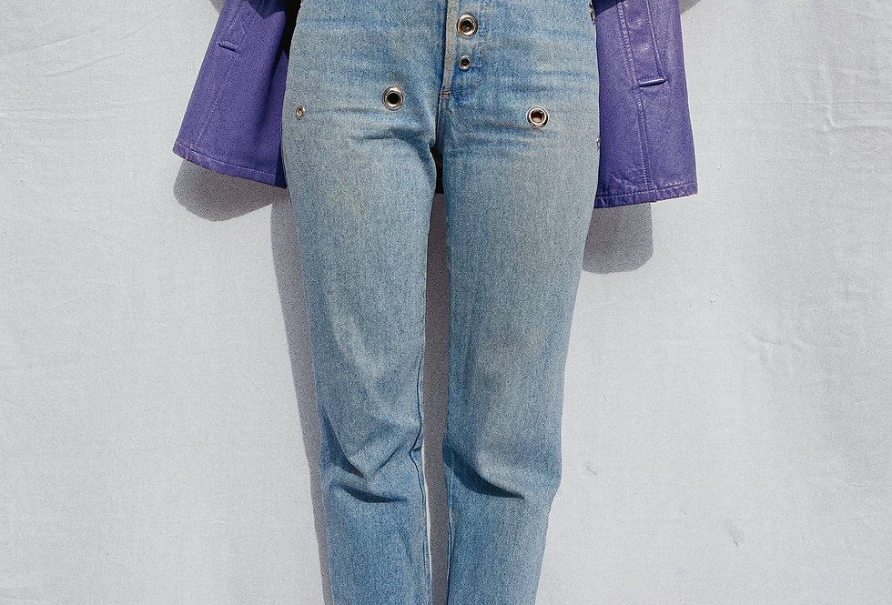 """SZ 28"""" 90s Contempo Casuals Silver Grommet High Rise Mom Jeans"""