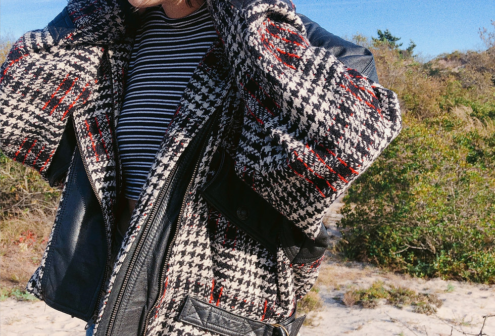80s Houndstooth Plaid Leather Mixed Moto Jacket
