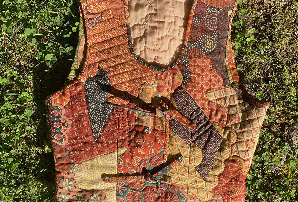SZ L Quilted Patchwork 70s Country Babe Vest