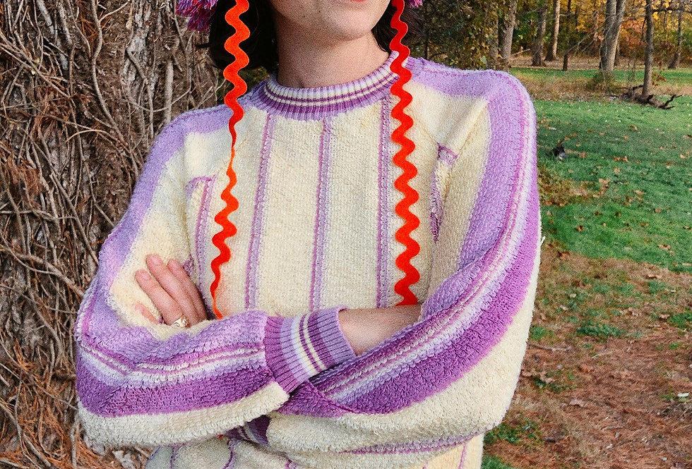 Vertical Striped Terry Stitch Sweater