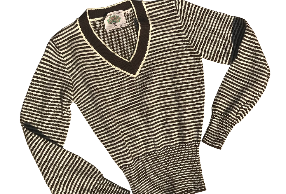 70s Brown + Ivory Striped V-Neck Sweater