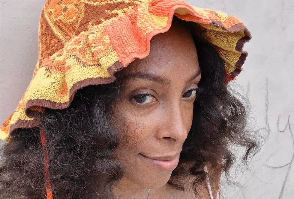 The Christine Patchwork Terry Towel Hat