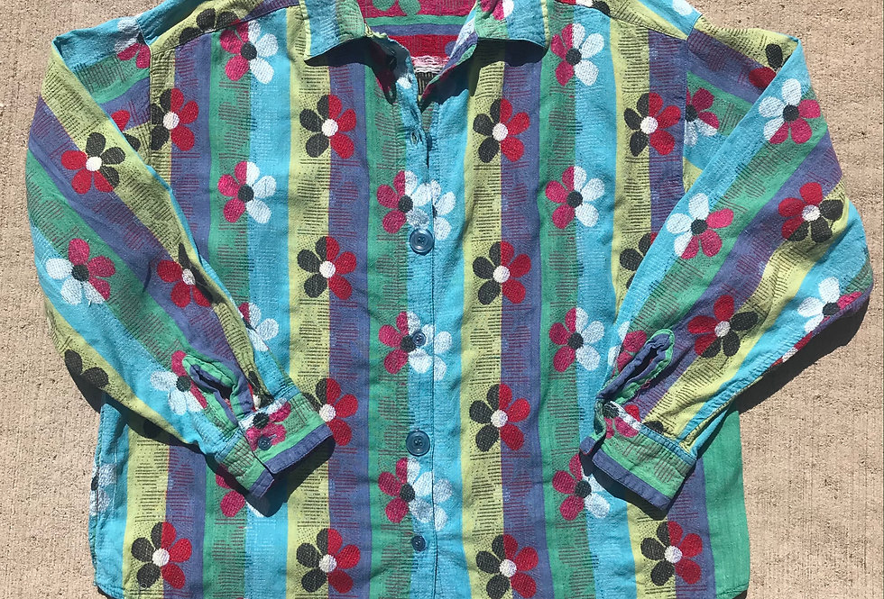 SZ M Floral Woven Jacquard Button Up Shirt from 1990