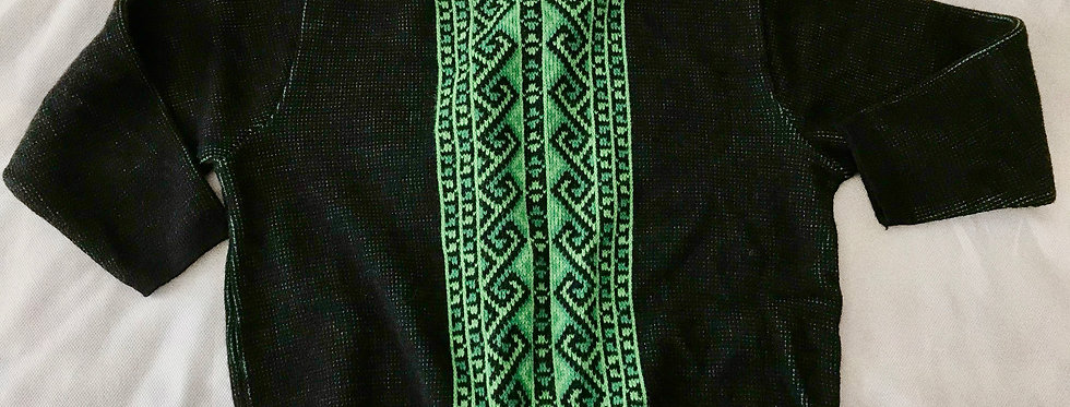1960s Black and Green Graphic Jacquard Sweater