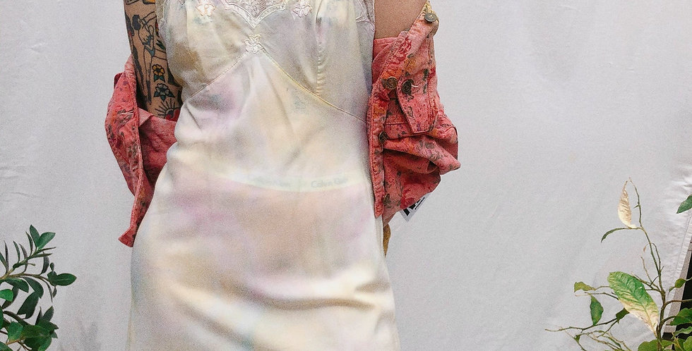 Sun Bleached Watercolor Tie Dyed Vintage Slip Dress