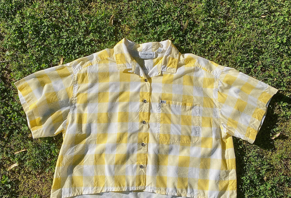 SZ 2XL White and Yellow Checkered 90s Cropped Button-Up