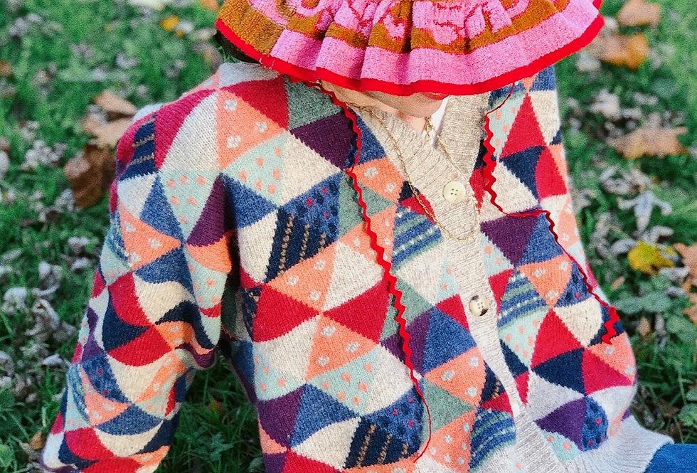 Quilt-Inspired Intarsia Cardigan